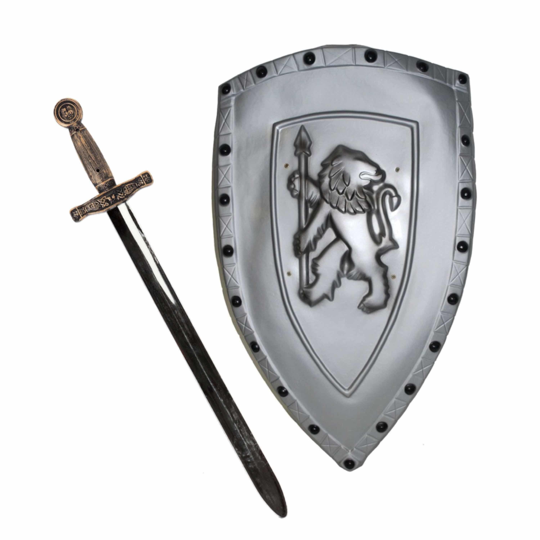 Merkloos Ridders verkleed wapens set - schild met zwaard van 63 cm -