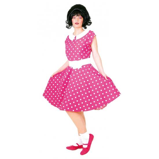Rock n roll jaren 50 verkleed jurk roze met wit