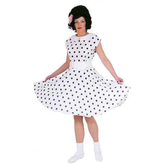 Rock n roll jaren 50 verkleed jurk wit met zwart