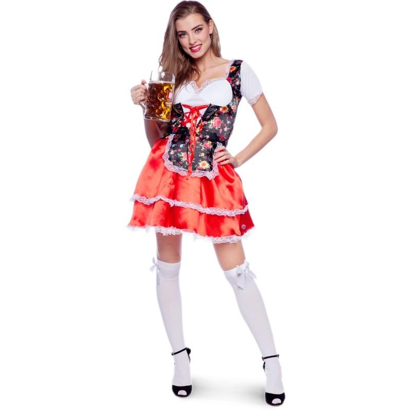 Rode/bloemen Tiroler dirndl verkleed kostuum/jurkje voor dames