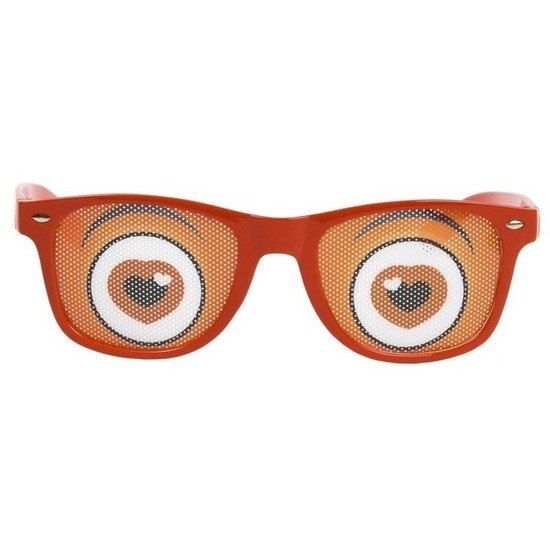 Rode bril met hartjes ogen
