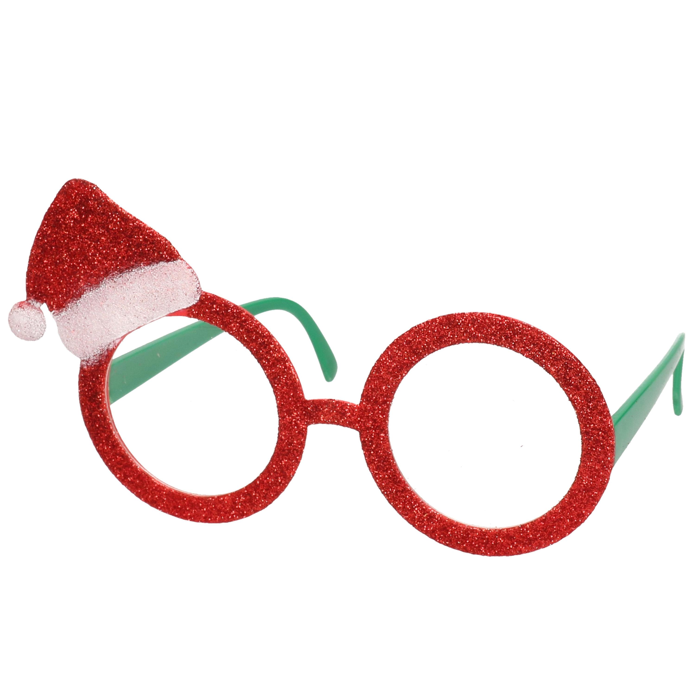 Rode brillen-feestbrillen met kerstmuts voor volwassenen
