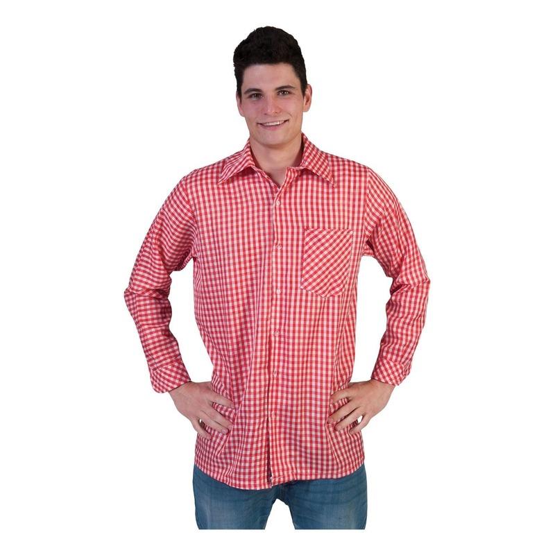 Rode geruite blouse voor heren