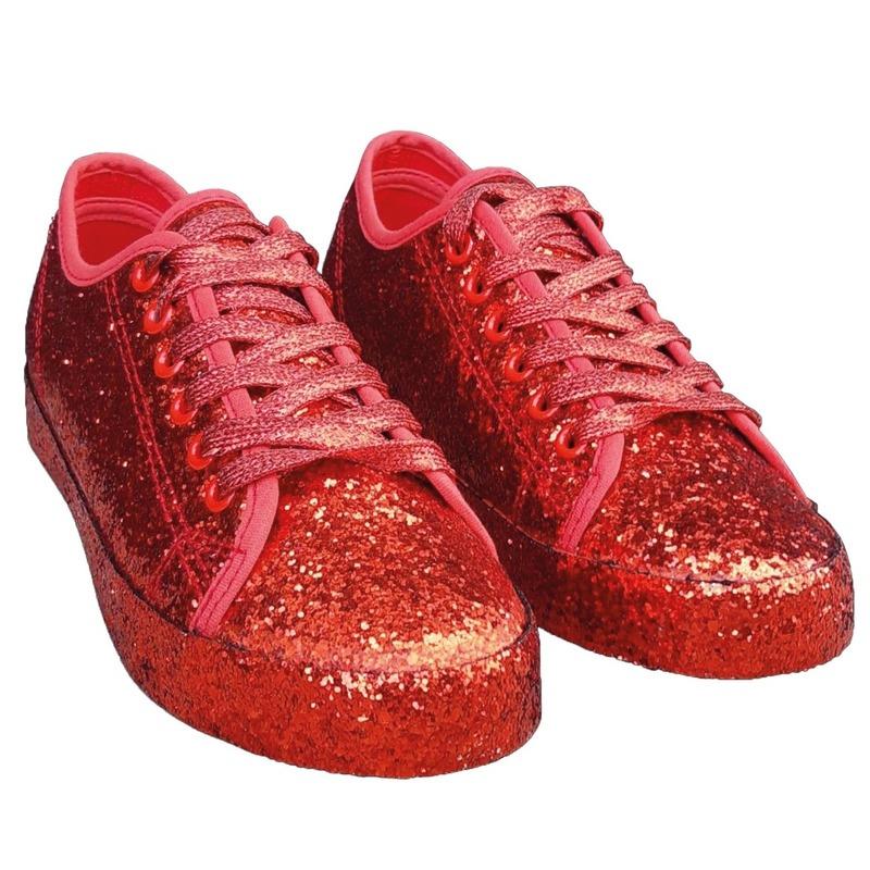 Rode glitter disco sneakers/schoenen voor dames