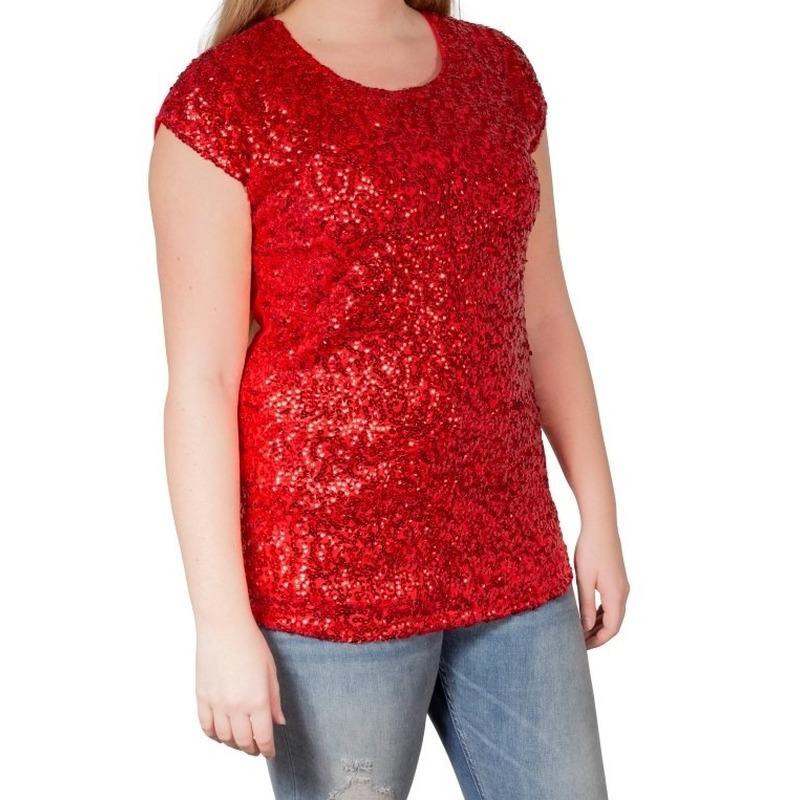 Rode glitter pailletten disco shirt dames one size