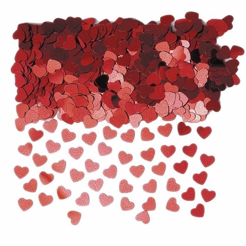 Rode hartjes confetti 6 zakjes