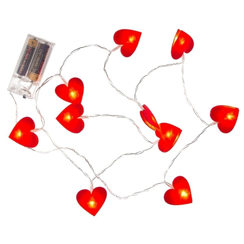 Rode hartjes lichtsnoer 120 cm
