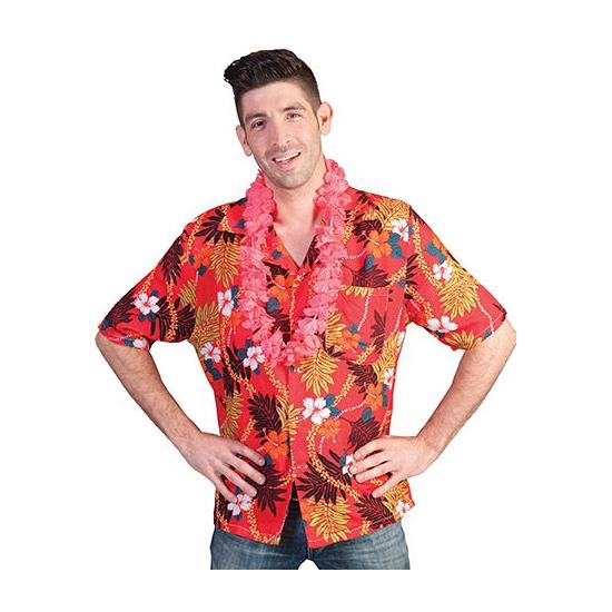 Rode Hawaii verkleed blouse met tropische print