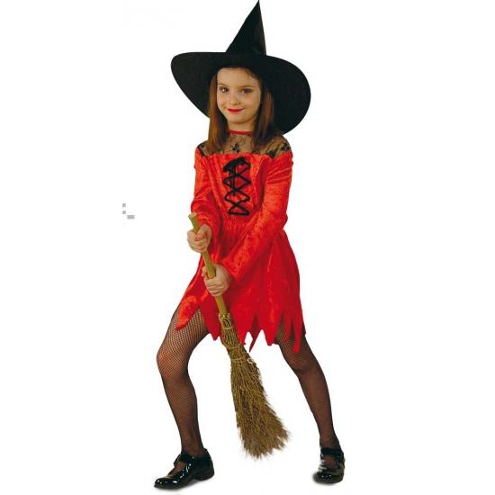 Rode heksenjurk voor meisjes kostuum - verkleedkleding