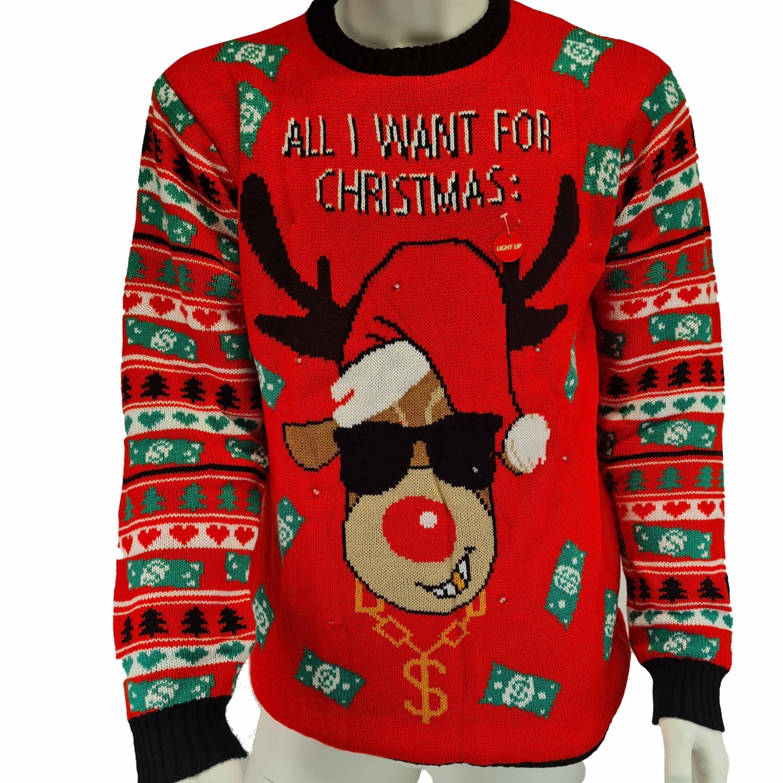 Rode heren kersttrui All I want is money met lichtjes/lampjes
