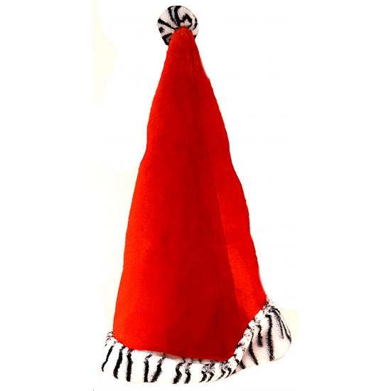Rode kerstmuts met zebraprint