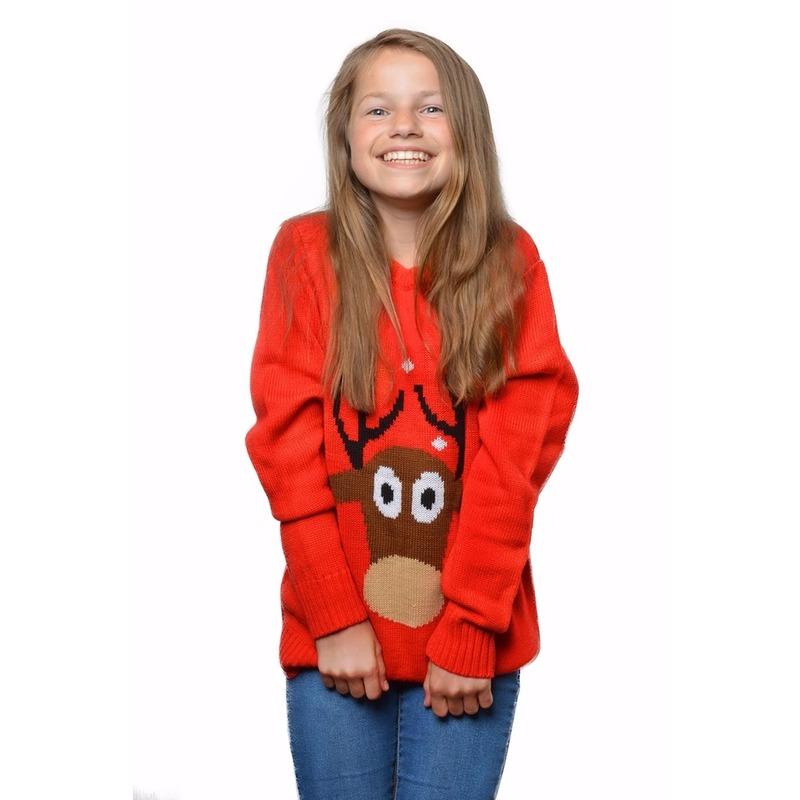 Rode kersttrui met rendier voor kinderen 9/10 jaar (140/146) Rood