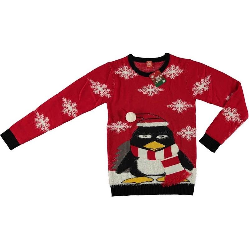 Rode kersttrui pinguin voor volwassenen