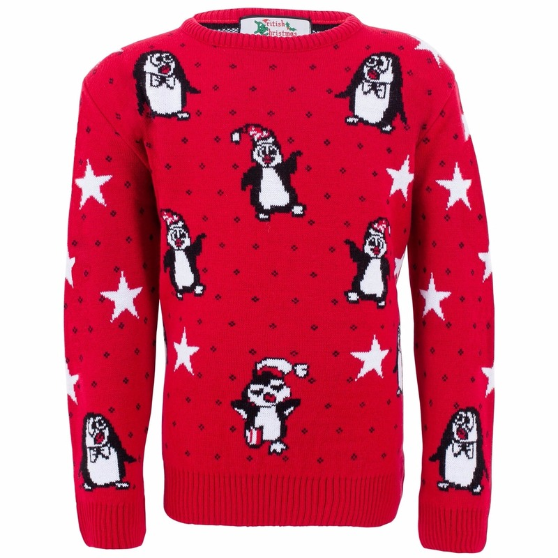 Rode meisjes kersttrui met pinguins 9/10 jaar (140) Rood