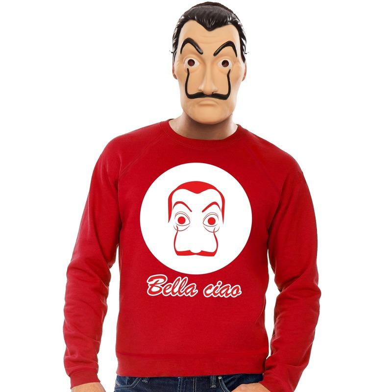 Rode Salvador Dali sweater met La Casa de Papel masker heren