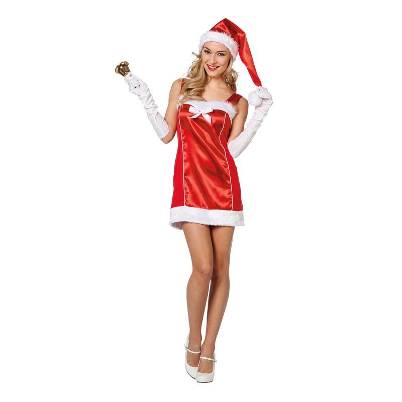 Rode sexy Kerstvrouw jurk met kerstmuts voor dames