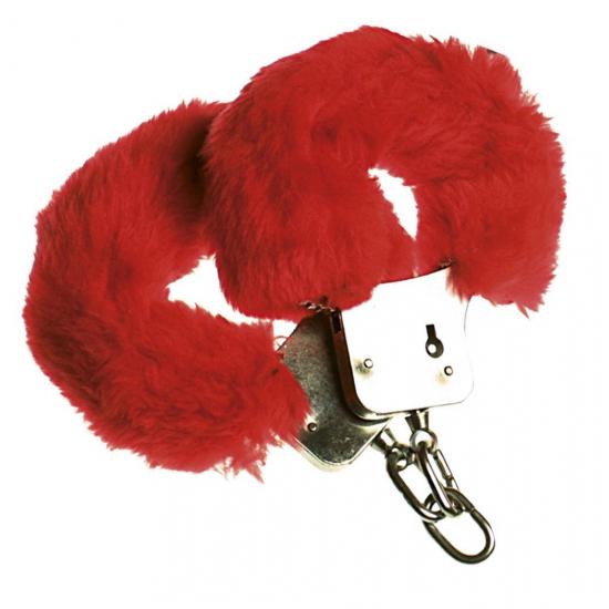 Rode speelgoed handboeien met pluche