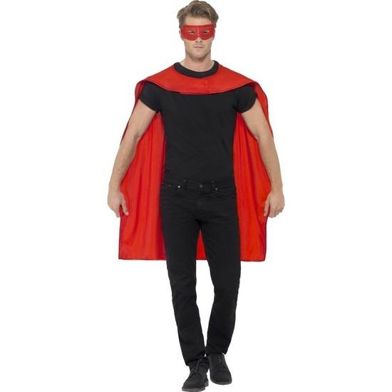 Rode verkleed cape met oogmasker voor volwassenen