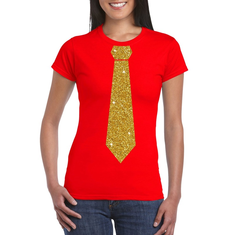 Rood fun t-shirt met stropdas in glitter goud dames