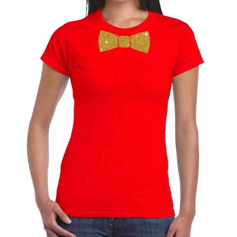 Rood fun t-shirt met vlinderdas in glitter goud dames