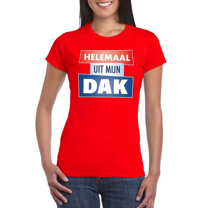 Rood Helemaal uit mijn dak t-shirt dames