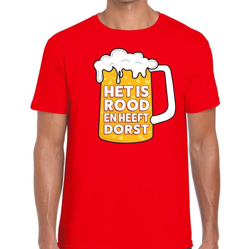 Rood Het is rood en heeft dorst t-shirt heren S Rood