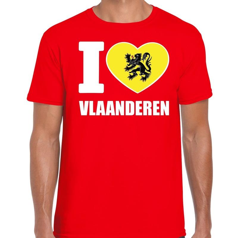 Rood I love Vlaanderen t-shirt heren