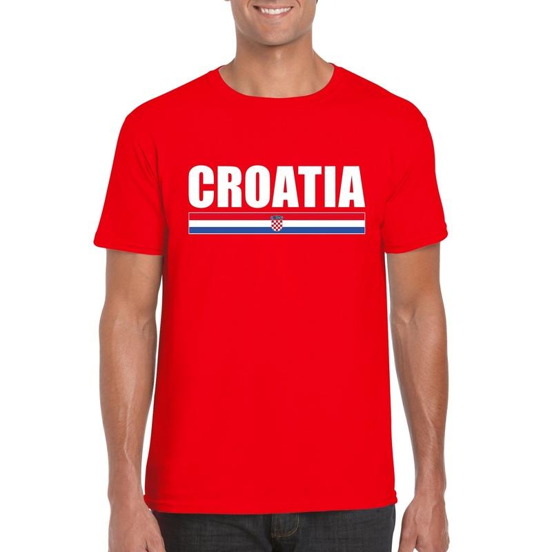Rood Kroatie supporter t-shirt voor heren