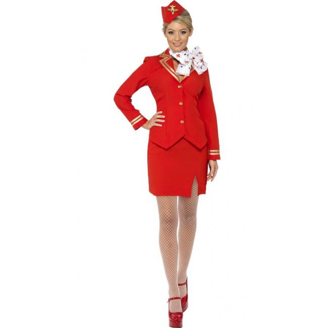 Rood stewardess kostuum met hoedje