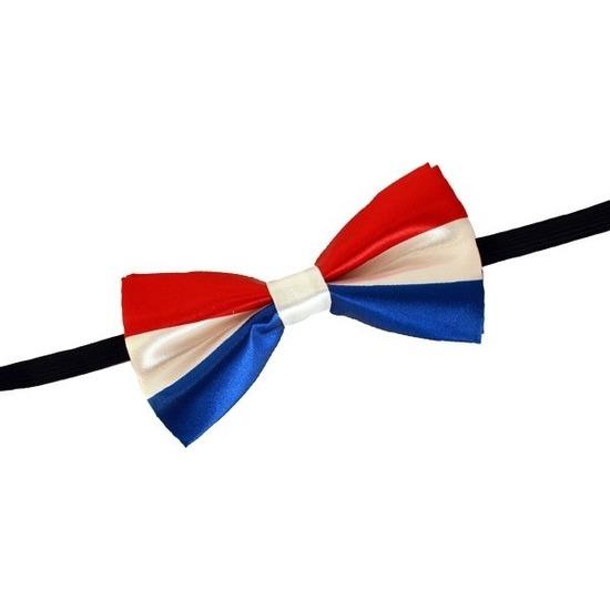 Rood/wit/blauw verkleed vlinderstrikje 12 cm voor dames/heren