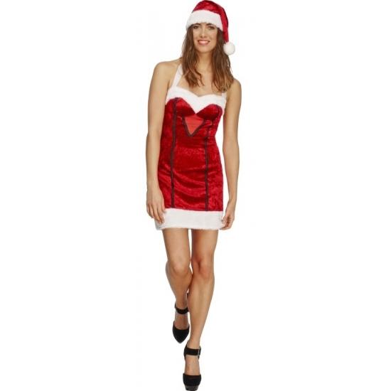 Rood/wit sexy Santa kerstvrouw verkleed kostuum/jurk voor dames