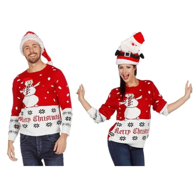Rood/witte kerst trui met sneeuwpop voor volwassenen 48 (S) Blauw