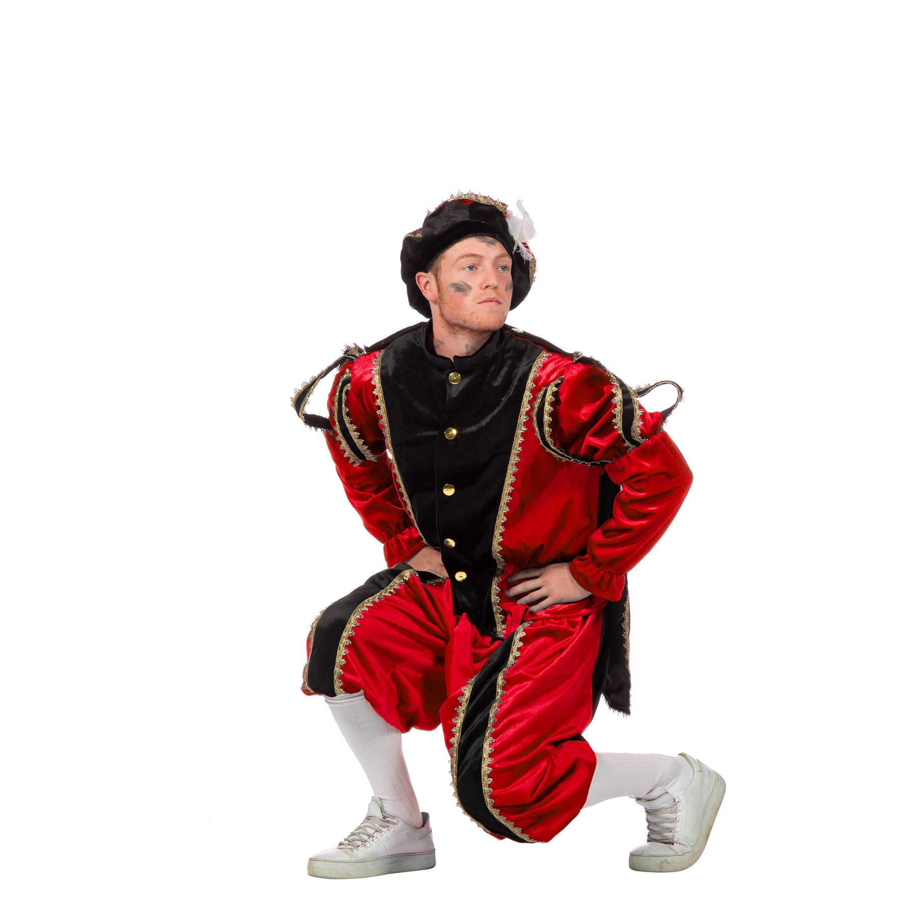 Rood/zwarte pieten kostuum fluweel