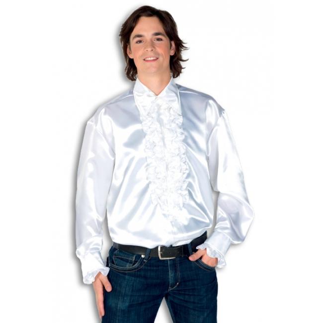 Rouche overhemd voor heren wit
