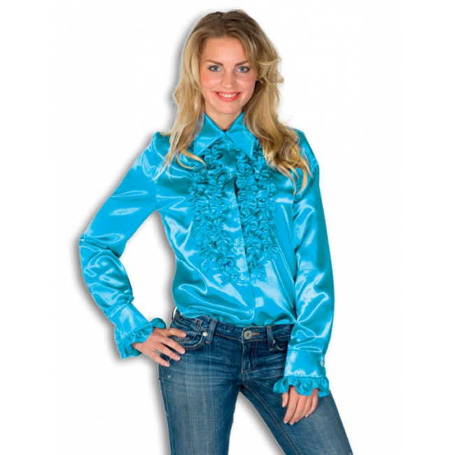 Rouches blouse blauw dames