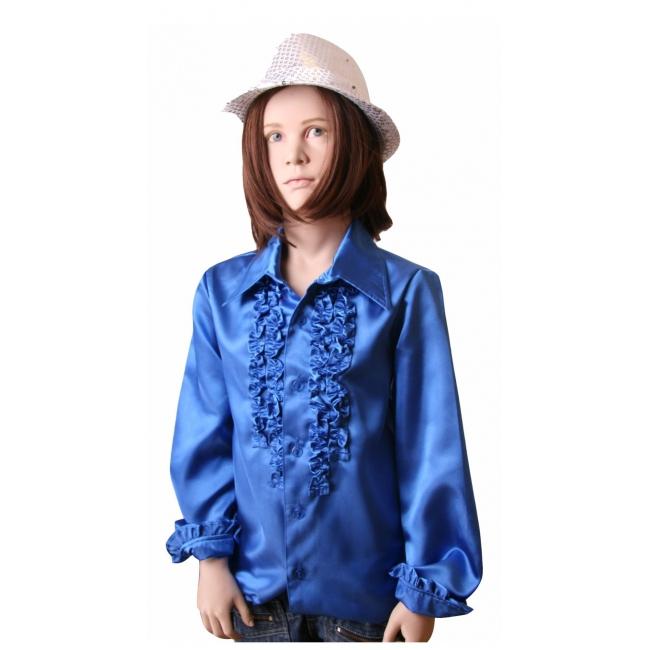 Rouches blouse kobalt voor meisjes