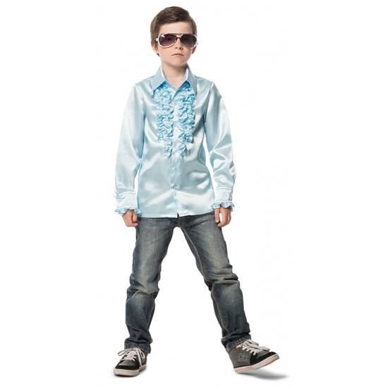Rouches blouse lichtblauw voor jongens