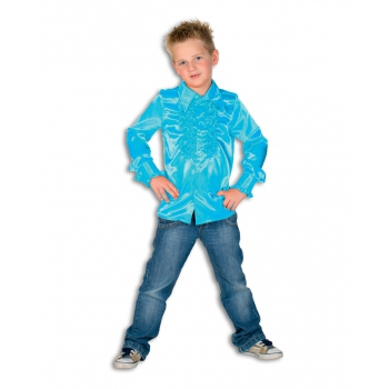 Rouches blouse turquoise voor jongens