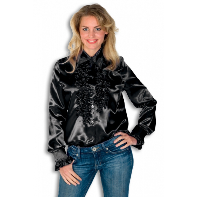 Rouches blouse zwart dames