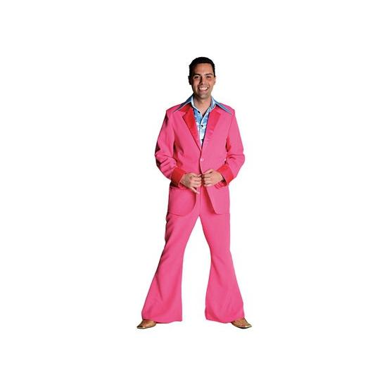 Roze 70's kostuum voor heren