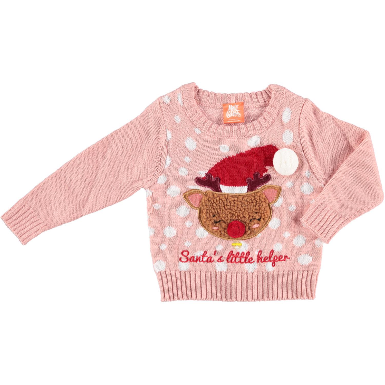 Roze baby kersttrui/foute kersttrui Santas Little Helper 56/62 (1-4 mnd) -