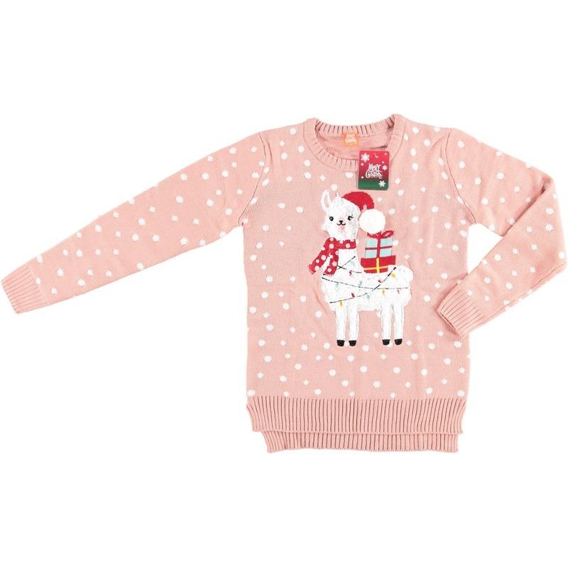 Roze dames kersttrui met lama/alpaca S -