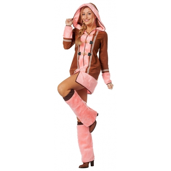 Roze Eskimo kostuum voor dames