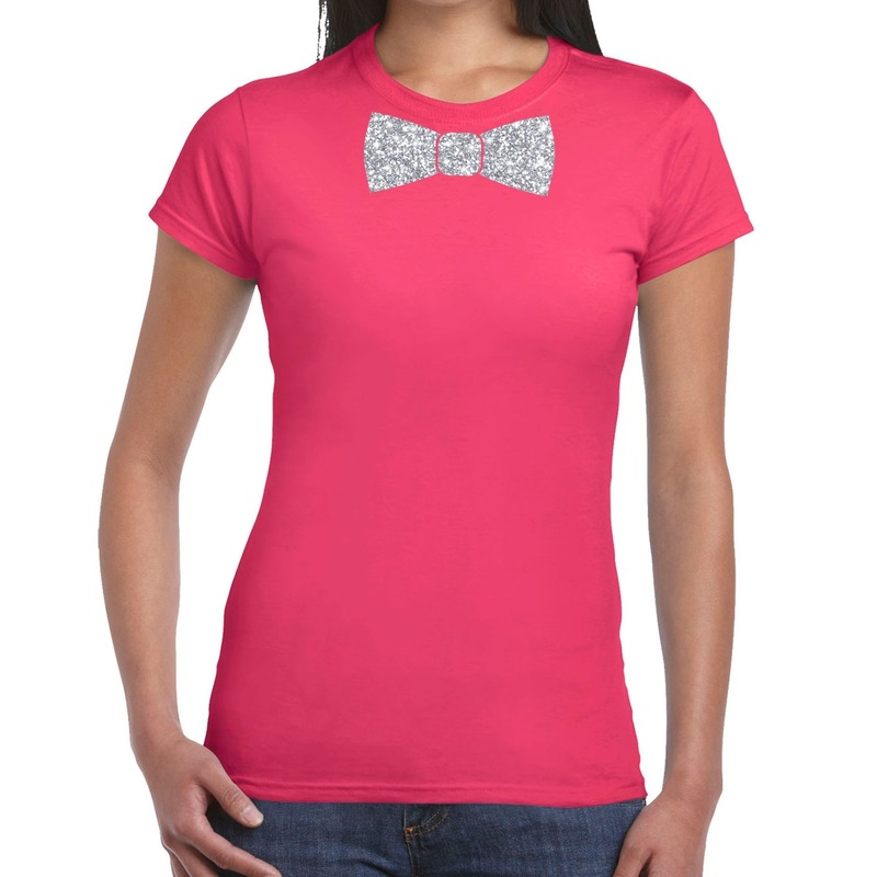 Roze fun t-shirt met vlinderdas in glitter zilver dames