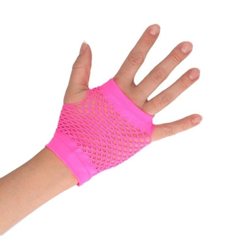Roze grunge/gothic korte visnet handschoenen voor volwassenen