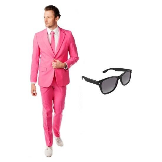 Roze heren kostuum maat 50 (L) met gratis zonnebril