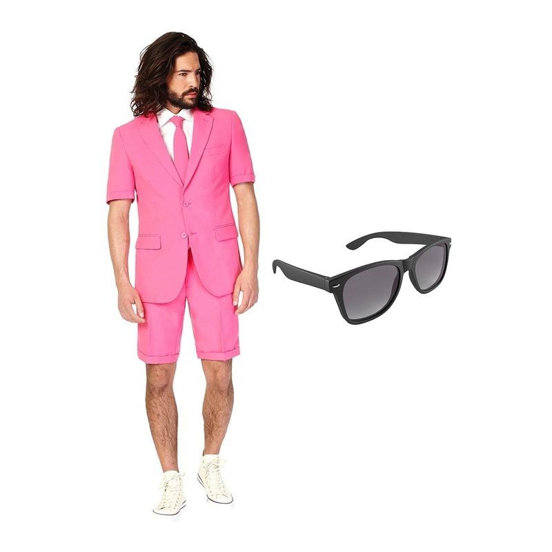 Roze heren zomer kostuum maat 52 (XL) met gratis zonnebril