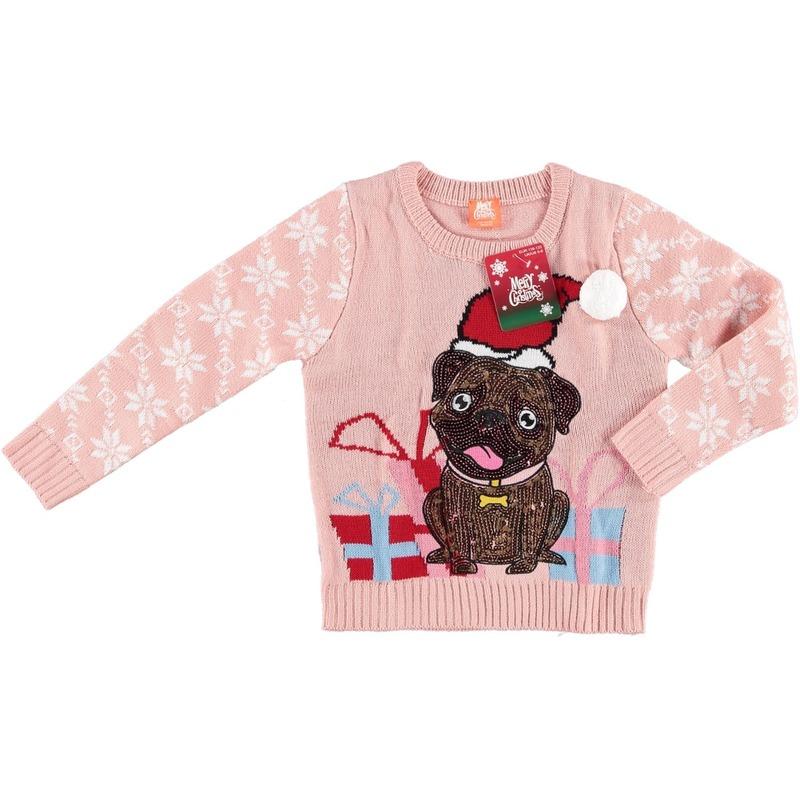 Roze kersttrui mopshondje voor kinderen