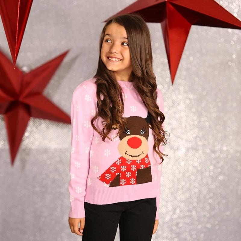 Roze kersttrui voor meisjes 9/10 jaar (140/152) Roze