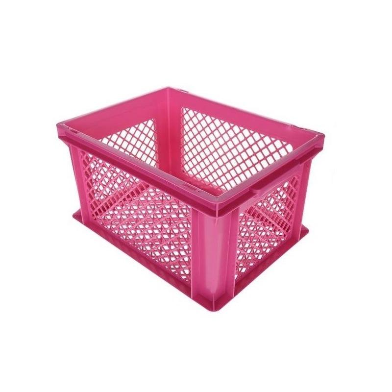 Roze kunststof fietskrat 40 x 30 x 22 cm